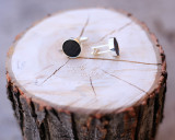 Leather Cuff Link with Wood Grain Etched Pattern