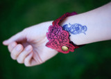 Leather Cherry Blossom Cuff