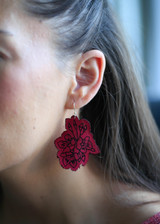 Leather cherry blossom dangles