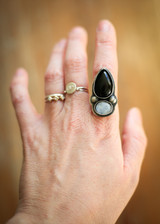 Onyx and moonstone statement ring