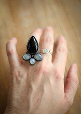 Onyx and three moonstone statement ring