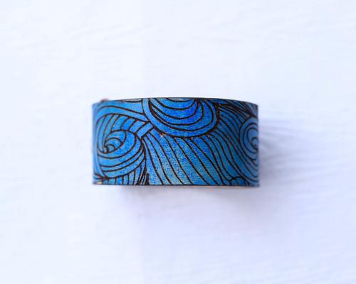 Blue Leather Cuff Bracelet