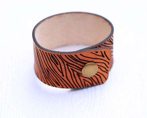 Wood Grain Leather Cuff