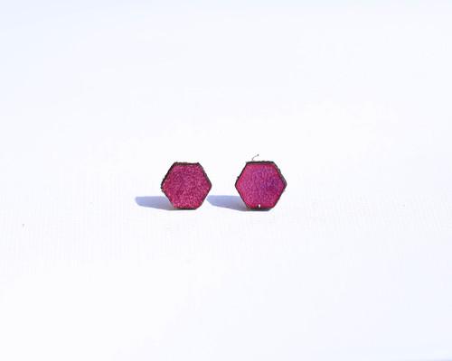 Purple Leather Hexagon Studs