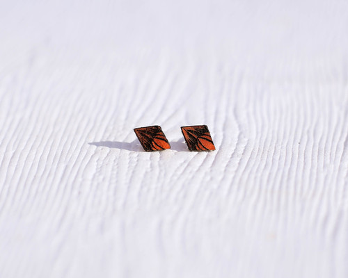 Leather Flower Studs