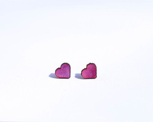 Purple leather heart studs
