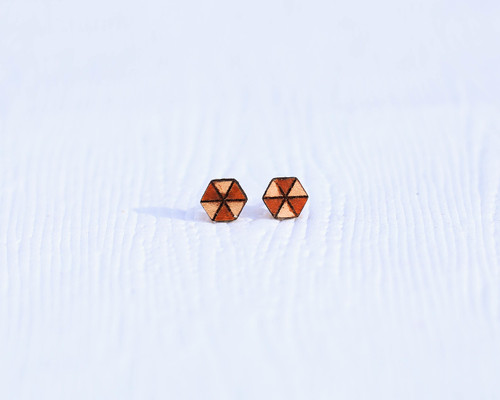 Leather Hexagon stud earrings with etched pattern