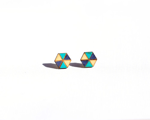Wood Hexagon studs with teal and navy pattern