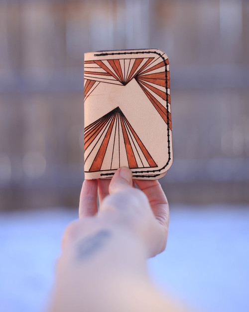 Front of Leather card holder with ray pattern