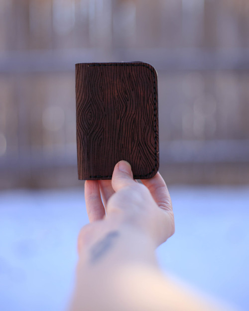 Wood grain leather card holder