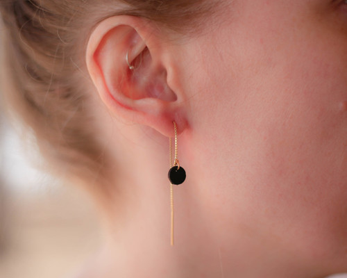 Leather circle ear threads