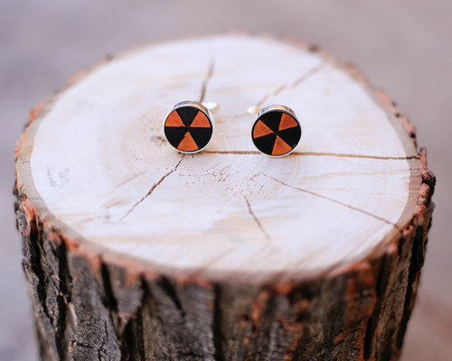 Leather Cuff Link with Bio Hazard Etched Pattern