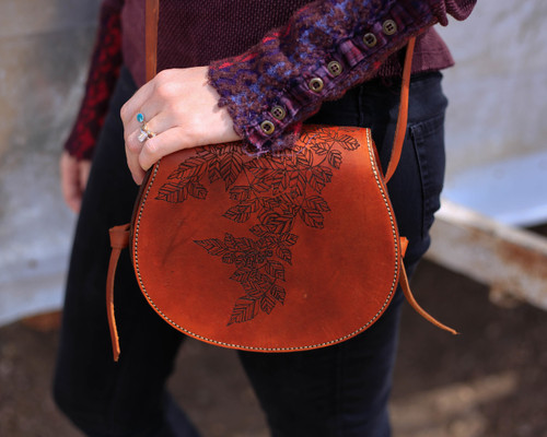Saddle Bag Purse with Etched Leaves