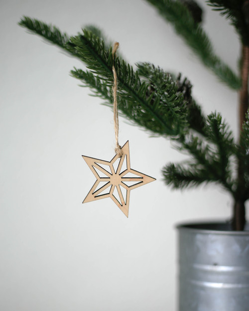 Solid Maple Star Ornament