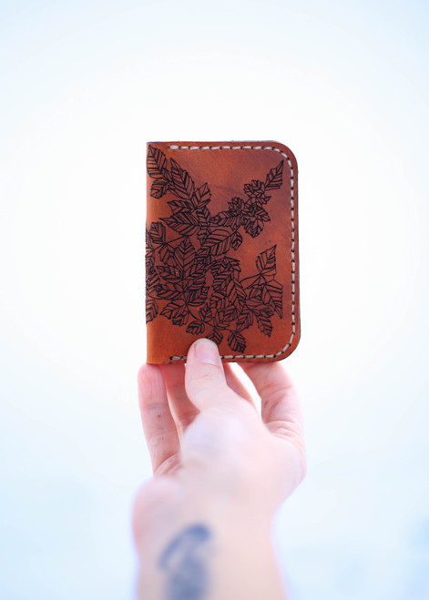 Leather Card Holder with Leaf Pattern