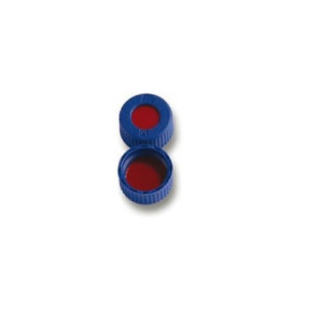 9mm AVCS Blue Screw Cap, PTFE/Silicone/PTFE, 100-pk