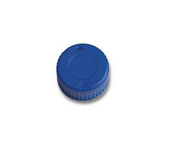 9mm Blue Screw Cap, Closed Top Cap, PTFE/Rubber Liner, 100-pk
