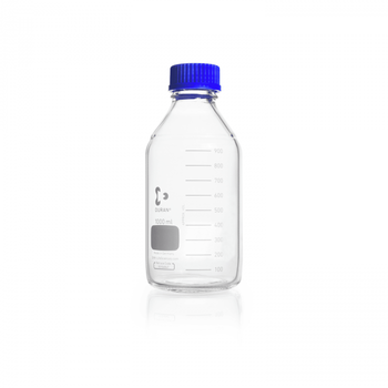 DURAN® Original GL 45 Laboratory Bottle, clear, with screw cap and pouring ring, PP, blue, 1,000mL, 10-pk
