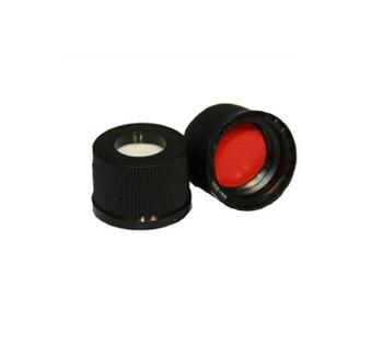 10mm Black Screw Cap, PTFE/Silicone, 100-pk