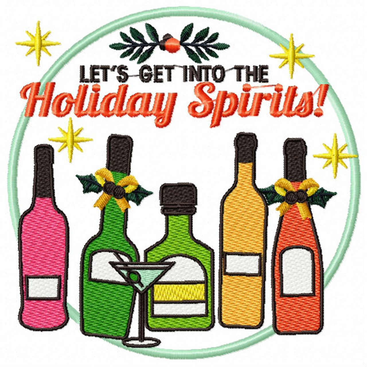 Christmas Humor Images.Let S Get Into The Holiday Spirits Christmas Humor Booze 04 Machine Embroidery Design