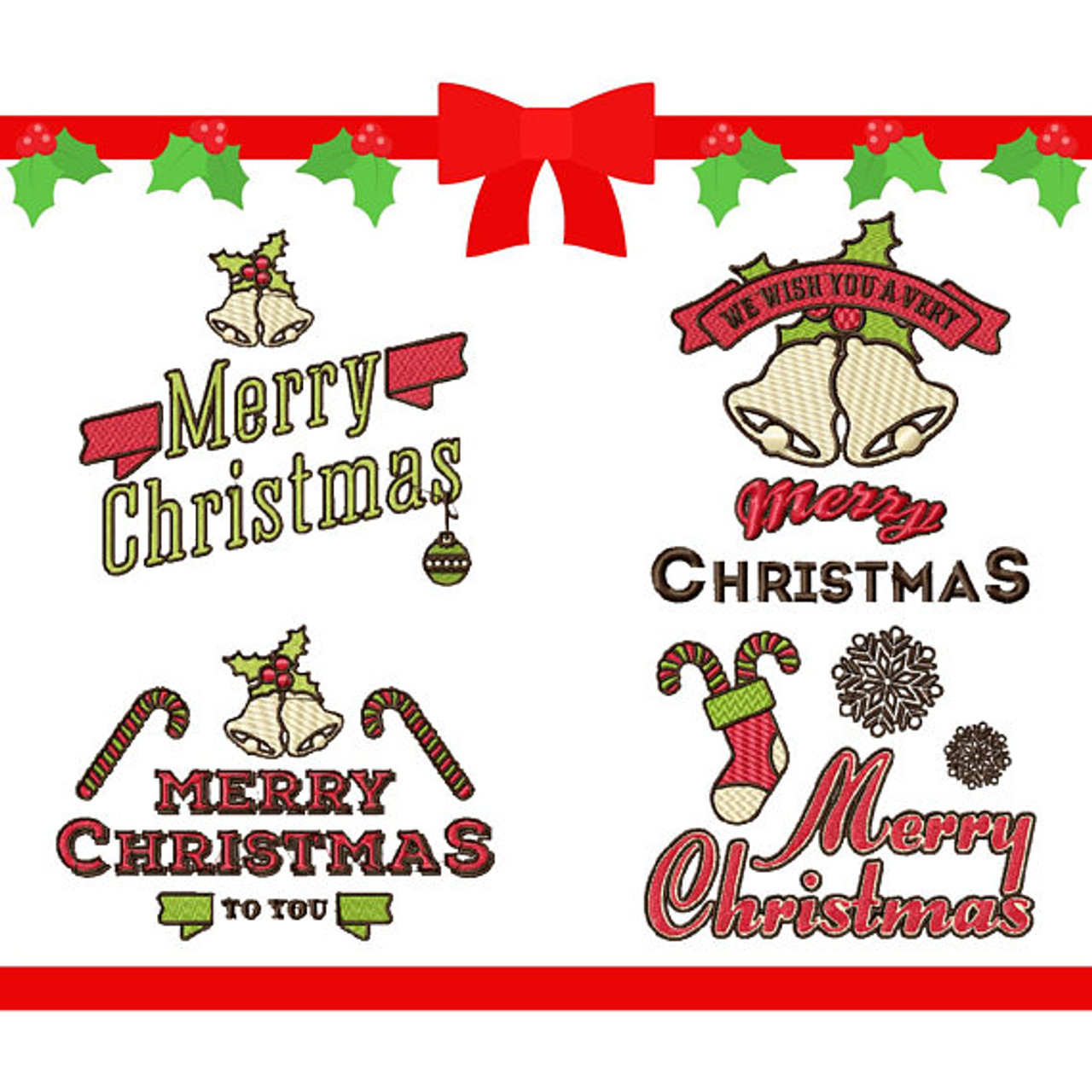Merry Christmas Labels.Christmas Labels Collection Of 4 Machine Embroidery Designs