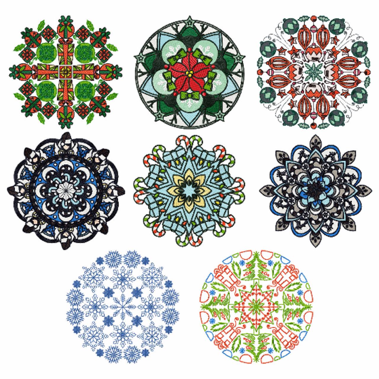 Machine Embroidery Designs - Christmas Mandalas of 8