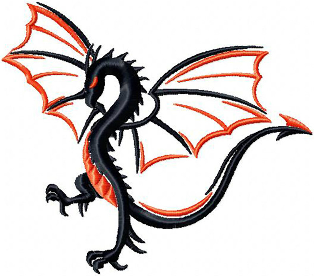 Winged Two Tone Dragon Tribal Dragon 12 Machine Embroidery Design