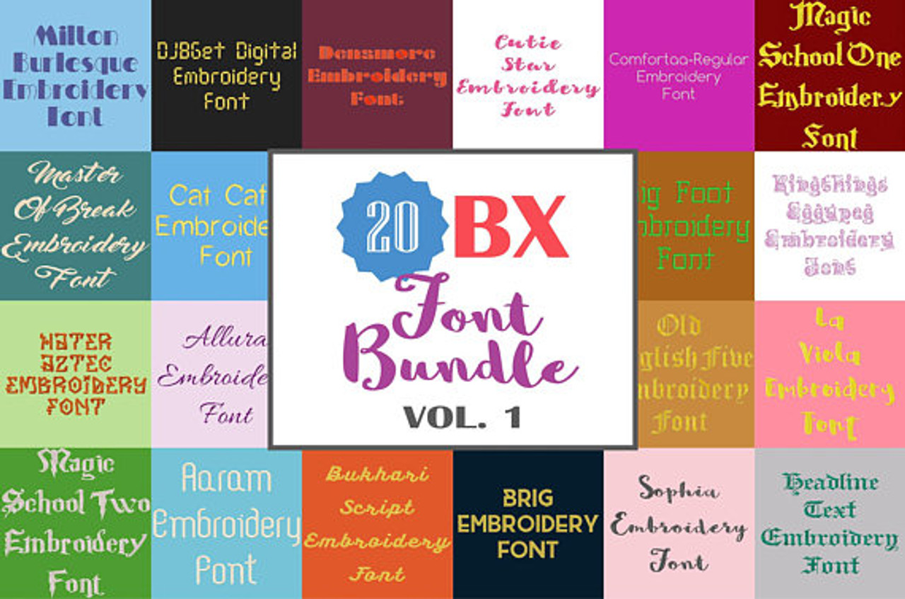 20 Full Bx Machine Embroidery Fonts Collection 01