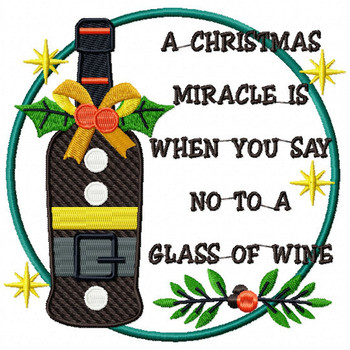 NO to a glass of Wine - Christmas Humor Booze #02 Machine Embroidery Design