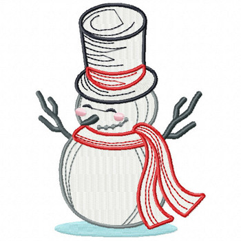Happy Snowman - Snowman Version One #03 Machine Embroidery Design