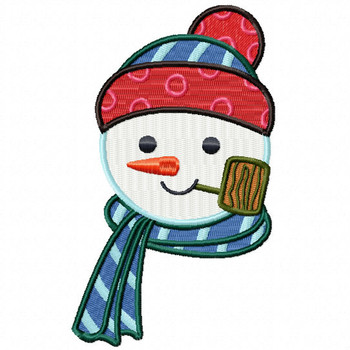 Pipe Snowman Head - Snowman Version One #06 Machine Embroidery Design