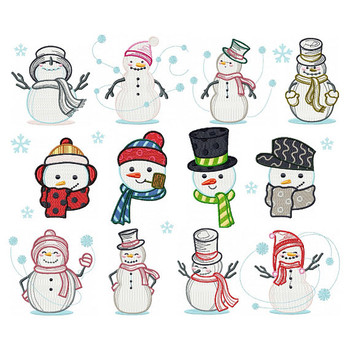 Snowman Collection of 12 Machine Embroidery Designs
