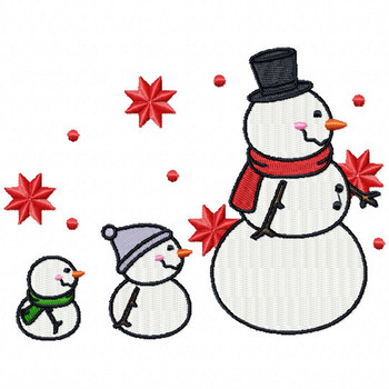 SnowMOM and Babies  - Funny Snowman #03 Machine Embroidery Design