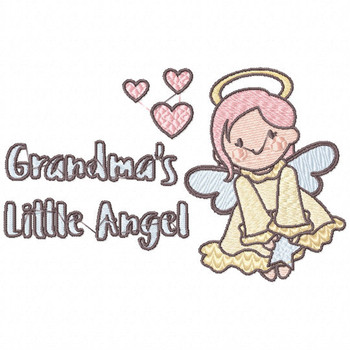 Grandma's Little Angel - Little Angels Typography #01 Machine Embroidery Design