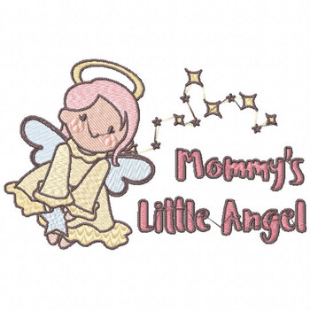 Mommy's Little Angel - Little Angels Typography #02 Machine Embroidery Design