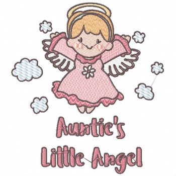 Auntie's Divine Little Angel - Little Angels Typography #08 Machine Embroidery Design