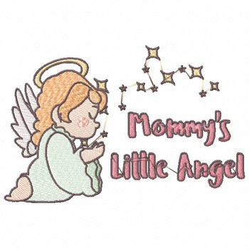 Mommy's Peaceful Little Angel - Little Angels Typography #10 Machine Embroidery Design