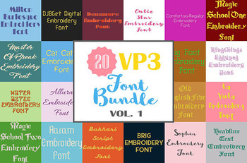 20 VP3 Font Bundle - Volume 1 - 20 Husqvarna Viking Machine Embroidery Fonts