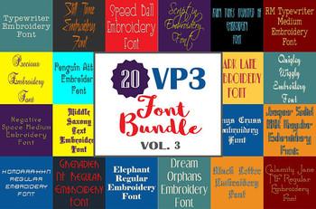 20 VP3 Font Bundle - Volume 3 - 20 Husqvarna Viking Machine Embroidery Fonts
