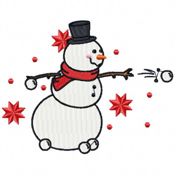 Snowball Fight - Funny Snowman #08 Machine Embroidery Design