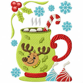Reindeer Drink - Christmas Hot Drinks #04 Machine Embroidery Design