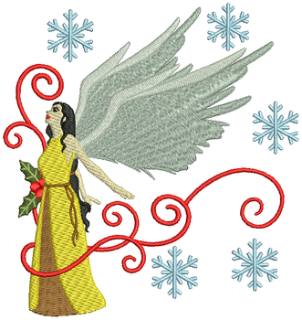 Yellow Dressed Angel - Christmas Angel #01 Machine Embroidery Design