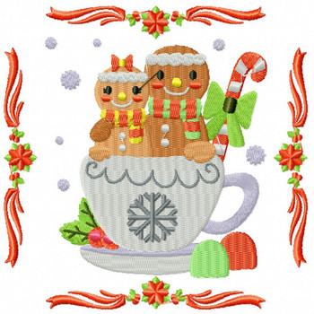 Ginger Bread Couple - Ginger Breads #03 Machine Embroidery Design