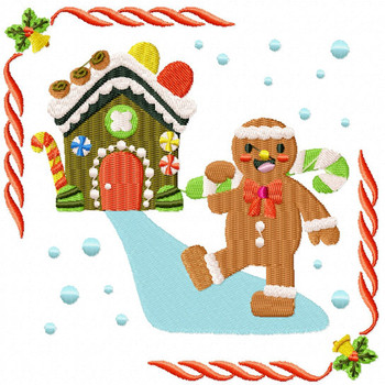 Ginger Man with His Ginger House - Ginger Breads #05 Machine Embroidery Design