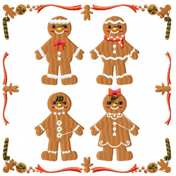 Ginger Bread Family - Ginger Breads #06 Machine Embroidery Design