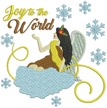 Joy to the World Angel - Christmas Angel #03 Machine Embroidery Design