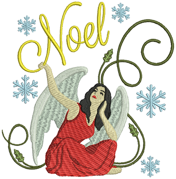 Noel Red Dressed Angel - Christmas Angel #04 Machine Embroidery Design