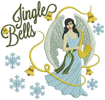 Jingle Bells Christmas Angel - Christmas Angel #07 Machine Embroidery Design