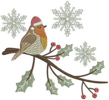 Christmas Robin #01 Machine Embroidery Design