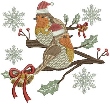 Christmas Robin #03 Machine Embroidery Design